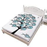 SoSungSet Duvet Queen Size Fitted Sheet,Life of Tree of Funny Fish Figures on The Branches with Different Emojis Bed Cover with All-Round Elastic Deep Pocket for Oversized Mattress,Blue Black