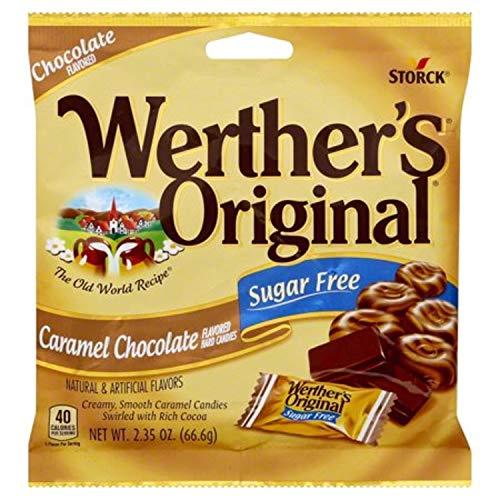 Werther's Original Caramel Chocolate Sugar Free Hard Candies 2.35 Oz(pack of 2)