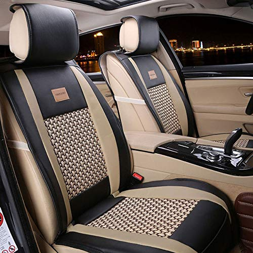 Car Seat Cover Cushions PU Leather, FuriAuto Front Rear Full Set Car Seat Covers for 5 Seats Vehicle Suitable for Year Round Use(Khaki Black)
