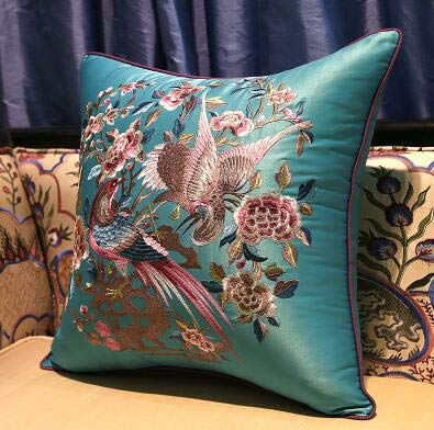 LEV Cushion classical many birds waist cushion with inner 40x60cm pillow embroidery sain cushion pillow chair decorate 1 PCs