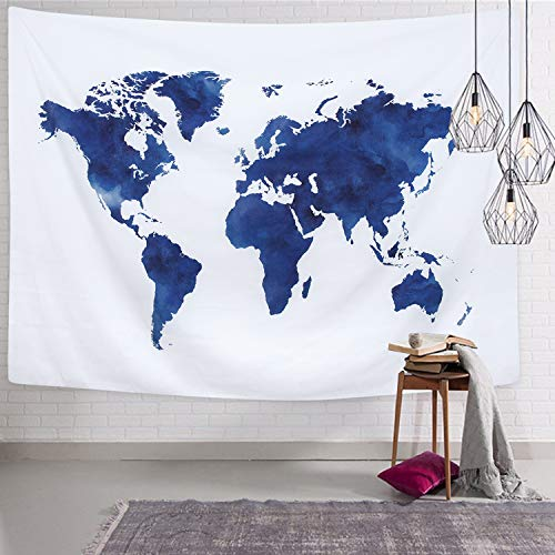 Martine Mall World Map Tapestry Wall Hanging, Blue Painting Tapestries, Retro Hippie Tapestry Wall Art for Home Decor