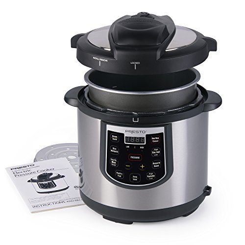 Presto 02141 6-Quart Electric Pressure Cooker, Black, Silver
