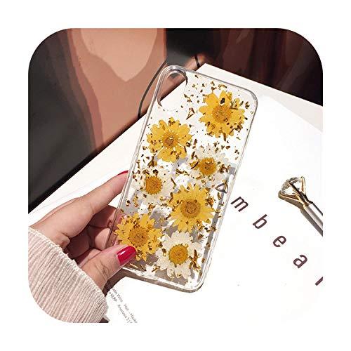 RaCarrot - Cover per iPhone X XS Max XR 6 6S 7 8 Plus 11 Pro Max SE 2020, realizzata a mano con fiori freschi