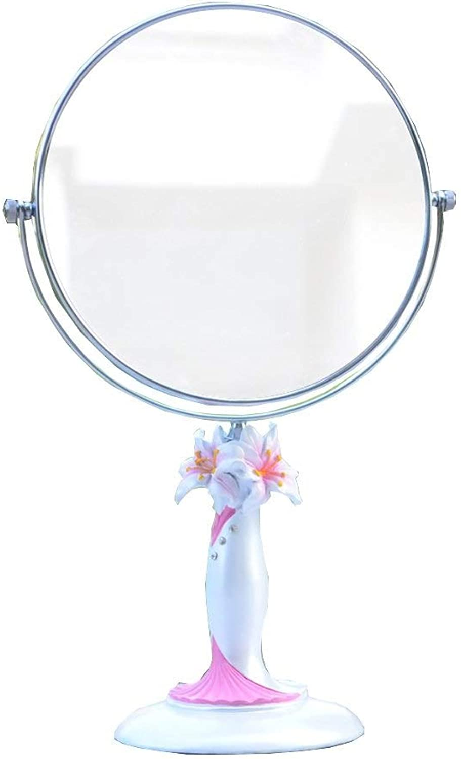 SMC Mirror Simple Round Portable Environmentally Friendly Resin Vanity Mirror Double-Sided redating Beauty Mirror (color   Pink, Size   8-inch)