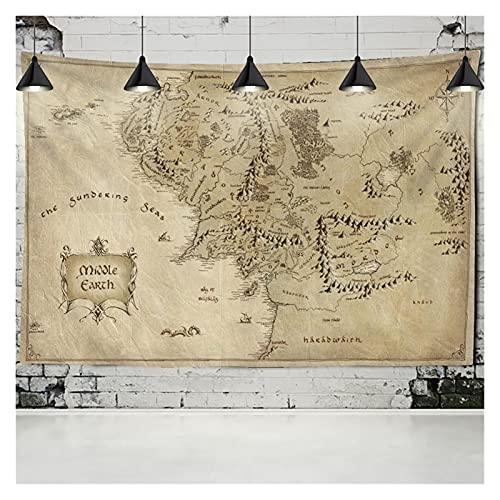 Tapiz de mapa del mundo de alta definición para colgar en la pared, tela de mapas de acuarela, poliéster, cubierta de mesa de yoga (color: naranja, tamaño: 95 x 70 cm)