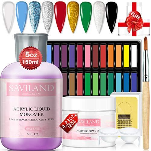 Saviland - Set di polvere acrilica e liquido, kit professionale per nail art con 24 gessetti colorati pastello e pennello in acrilico per unghie e contenitore per polvere fai da te colorato acrilico
