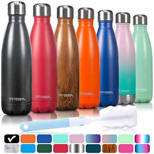 arteesol Doppelwandige Thermosflasche, Vakuum Wasserflasche - Premium 500ml/750ml/1000ml Edelstahl Trinkflasche, BPA-Frei Thermosflasche Isolierflasche Sport Flasche für Kinder, Fitness, Laufen
