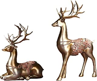 HEALLILY 2pcs Collectible Christmas Reindeer Resin Sculpture Statue Deer Figurine Statue Home Office Decor Statues Deer De...