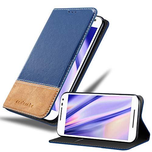 Cadorabo Hülle für Motorola Moto G3 - Hülle in DUNKEL BLAU BRAUN – Handyhülle mit Standfunktion und Kartenfach aus Einer Kunstlederkombi - Case Cover Schutzhülle Etui Tasche Book