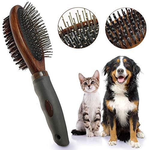 AIDIYA 犬 ブラシ 両面 ペット ブラシ 高級豚毛ブラシ ペットブラシ ペット用ブラシ 犬、猫長毛、短毛など...