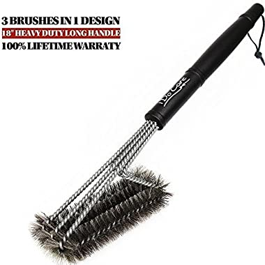 iDoCare 18  Wire Grill Brush - 3 Stainless Steel Brushes in 1 - Best Barbecue Grill Brush Cleaner - Perfect For Weber, Traeger, Char-Broil, Gas, Electric, Porcelain & Infrared Grills