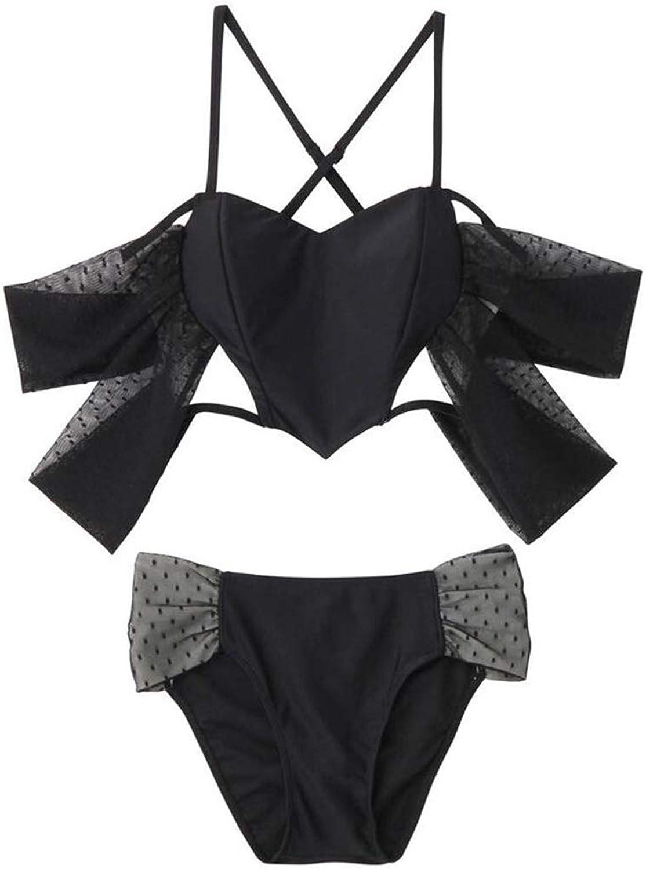 Fashion Swimsuit Female 2019 New Personality Unique Tide Sexy Hot Spring Island Vacation Bikini Split Black Swimsuit (color   Black, Size   M)