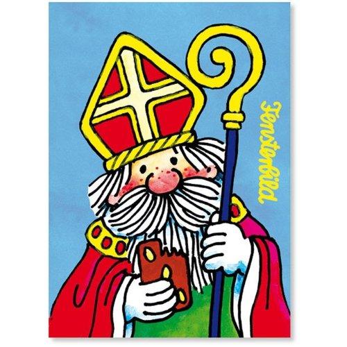 Lutz Mauder Lutz mauder86402 Sinterklaas met bedrukte ramen glitter afbeelding briefkaart