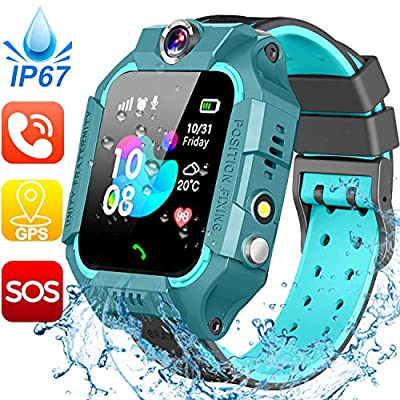 Waterproof Kids Smart Watch - GPS Tracker Smartwatch Phone for Boys Girls - Smart Watch with SOS Two-Way Call Games Touch Screen Digital Wrist Watch Holiday Toys Birthday Gifts (Green)