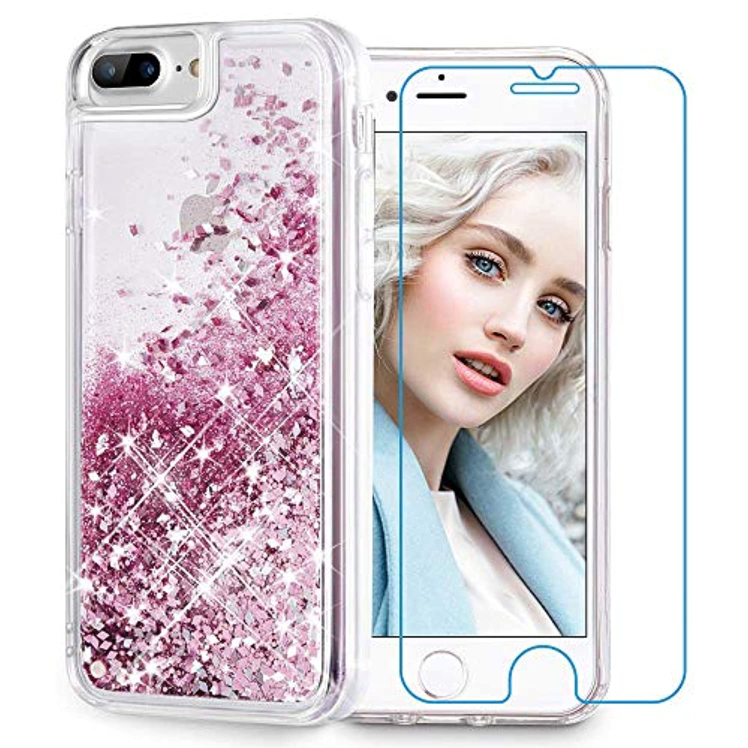 Maxdara iPhone 8 Plus Case, iPhone 7 Plus Glitter Liquid Case [Tempered Glass Screen Protector] Floating Bling Sparkle Luxury Pretty Girls Women Case for iPhone 6 Plus/6s Plus/7 Plus/8 Plus (Rosegold)