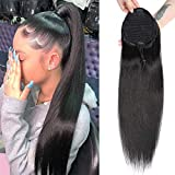 Straight Human Hair Ponytail Drawstring 100% Remy Ponytails Extension for Women Brazilian Straight Hair Natural Color (18 Inch, Straight, Wrap Drawstring)