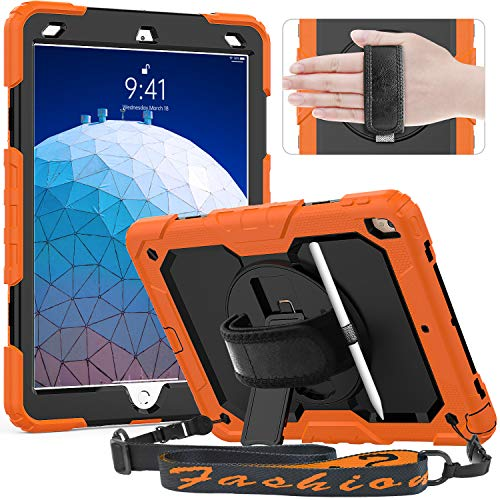 Timecity Case Compatible with iPad Air 3 2019/ iPad Pro 10.5 Inch 2017, with Screen Protector/ 360 Degree Swivel Kickstand/Hand Strap/Pencil Holder Cover for iPad Air 10.5 inch 3rd Gen- Orange