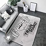 Multi-USE Floor MAT Fitness,Hand Holding a Dumbbell Grunge Sketch Get Strong Train Hard Illustration,Black Silver White 84 x 60 in Outdoor Carpet