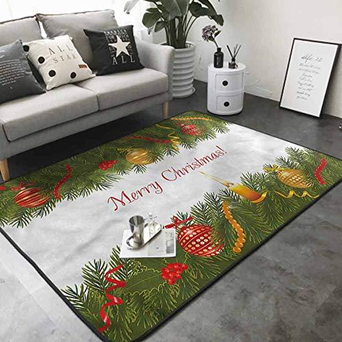 Corridor Rug Colorful Tree Candle Greeting 48'x 60' Printed Carpet