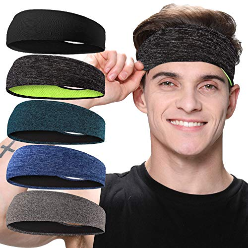 Braylin 5-Pack Headbands for Men, Sport Sweat Band Men's Headbands, Breathable Mesh Headbands for Running Fitness Yoga Cycling, Moisture Wicking, Elastic Stretch
