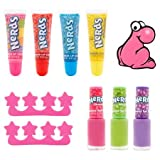 Nerds Summer Lip Gloss and Nail Colors Beauty Cosmetic Set (4) Flavored Lip Glosses, (3) Scented Nail Polishes, (2) Toe Separators, (1) Nail File Easter Basket Filler
