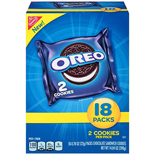 OREO Chocolate Sandwich Cookies, 4 Boxes of 18 Snack Packs (72 Total Packs)