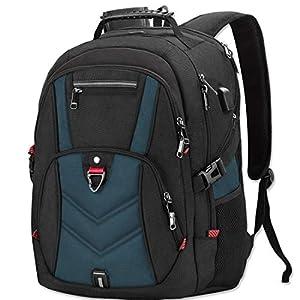 51fvf8RpD+L. SS300  - NEWHEY Mochila Portatil 17.3 Pulgadas Hombre con Puerto de USB Grande Mochila para Portátil 17 Pulgadas Impermeable Viaje Negocio Universidad Negro (Azul)
