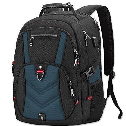 NEWHEY Laptop Rucksack Herren 17 Zoll Schulrucksack Jungen Teenager 17,3 USB Arbeit Business Wasserdicht Gross Notebook Rucksäcke für Männer (Blau)