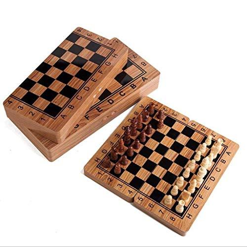 Tablero de ajedrez plegable de madera conjunto de ajedrez de madera conjunto conjunto juego juego divertido juego de ajedrez colección portátil tablero traavo (Puzzle entretenimiento familia) Jzx-n
