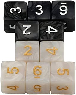 White and Black Six Sided D6 Dice for Roll Playing Game Dungeons and Dragons D&D RPG MTG Table Games