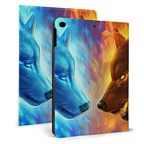 Ipad Mini Case 4/5, Ice Vs Fire Wolf Wolves Blue Burning 7.9 Inch Folio Stand Smart Tablet Case Cover for Ipad Mini 4th Gen and 5th Gen 2019 Auto Sleep Wakeup