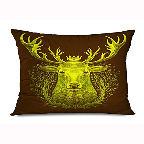 FUEWU Throw Pillow Cover 20x26 Inches Emblem Colorful Abstract Deer Head Fairy Graphic Whitetail Old Tree Animal Artistic Beautiful Big Decorative Zipper Pillowcase Home Decor Cushion Case