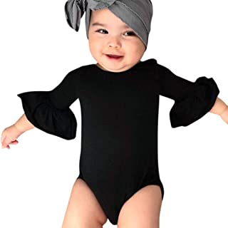 0-24 Months Newborn Infant Toddler Baby Girls Romper Clothes Ruffles Bell Sleeve Jumpsuit Playsuit Sleepwear Outfits