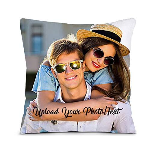 AITOOK Kissen mit Foto, Fotokissen Personalisiertes mit Deinem Foto & Text, Foto-Kissen Selbst gestalten für Zum Jahrestag, Geburtstag, Valentinstag, Muttertag (Weiß, 45 x 45cm)