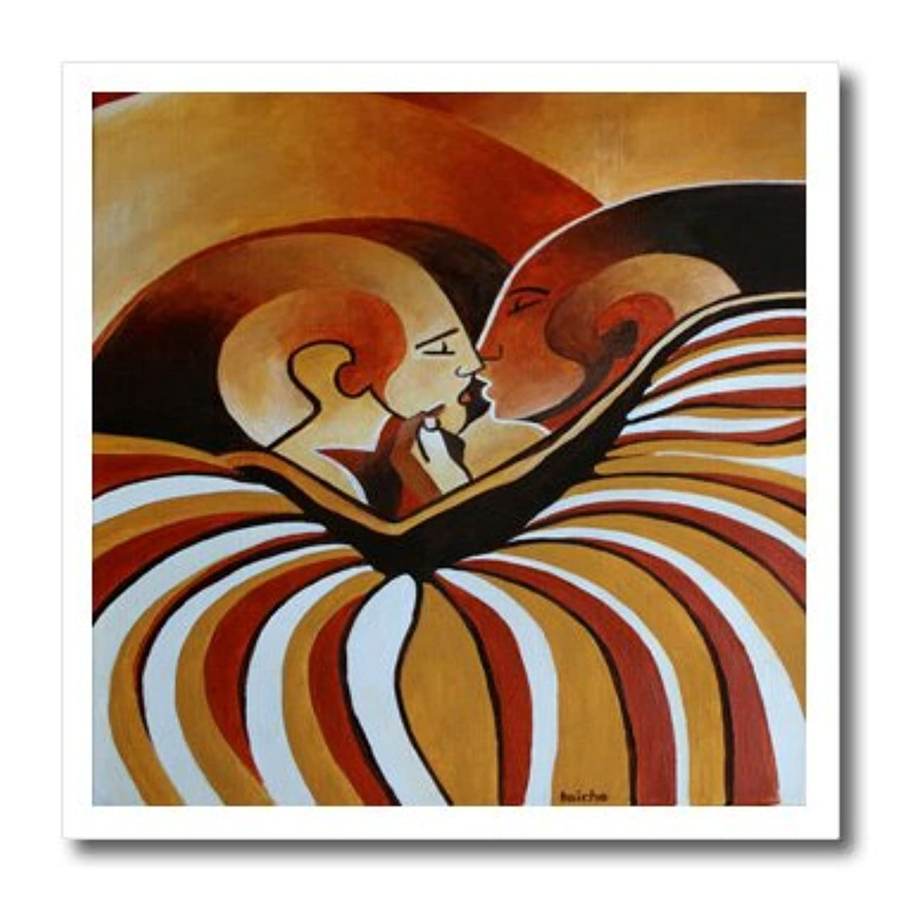 3dRose ht_128358_3 Touched by Africa African Themed Art of a Man and Woman Kissing Iron on Heat Transfer for White Material, 10 by 10-Inch