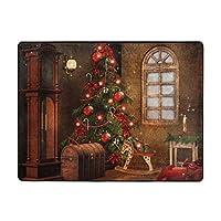 Christmas Tree Lights カーペット,洗濯機で洗える160cmx120cm 寝室、居間、寮、滑り止めフロアマット、厚くて丈夫な フロアマット,人気のオシャレ カーペットランキング