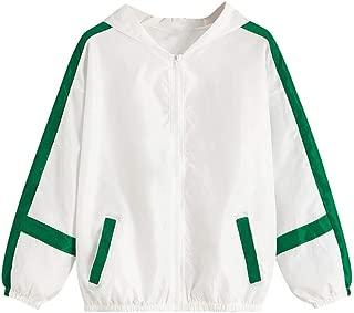 iHHAPY Women's Sports Coat Windbreaker Hooded Zipper Jacket Stripe Leopard Patchwork Oversize Outerwear Casual Outdoor