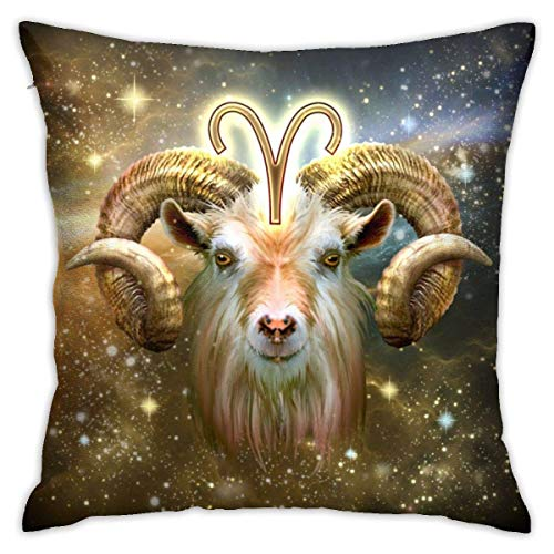 Throw Pillow Cover Cushion Cover Pillow Cases Decorative Linen Aries Horoscope for Home Bed Decor Pillowcase,45x45CM
