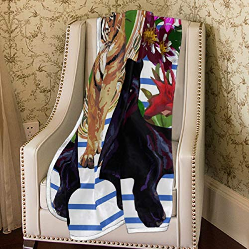 Emoya - Manta Suave de Franela con diseño de Tigre y Pantera Negra, 150 x 228 cm, Ligera, cálida y acogedora para sofás, sillas y Salones