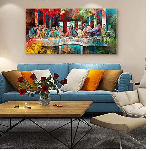 ad La última Cena de Leonardo Da Vinci Famosos Cuadros de Arte e impresión en Lienzo Arte de Pared Pintura para Sala de Estar Decoración del hogar -60x120cm Sin Marco