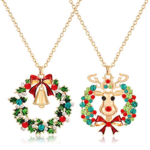 CEALXHENY 2PCS Christmas Necklaces for Women Girls Xmas Elk Wreath Pendant Necklace Holiday Festive Long Chain Necklace Set Gifts(Style A Elk + Wreath)