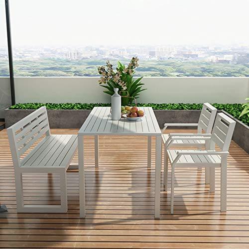 Ownlife 4 Piezas al Aire Libre Patio de Juego de Comedor, Ocio rectángulo Mesa y 3 sillas de jardín del Patio Trasero al Aire Libre (Color : White)