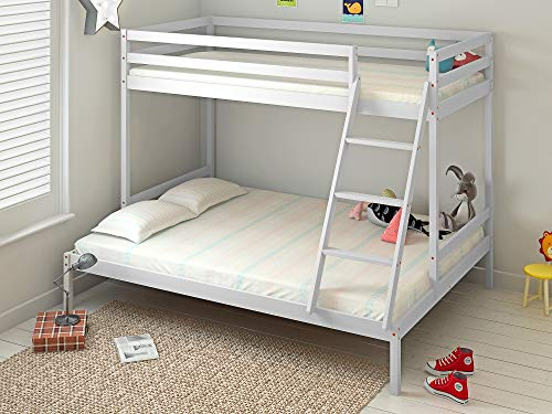 Panana Bunk Bed with Guard Rail, Wooden Triple Bed Frame 3FT single, 4FT6 double (White)