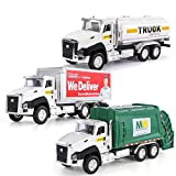 TEMI 3 Pack of Diecast City Transport Vehicles, Garbage Truck, Tanker Truck, Express Delivery Truck, 1/50 Scale Metal Collectible Model Cars, Pull Back Car Toys with Opening Doors for Boys and Girls
