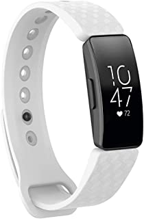Replacement Band Compatible with Fitbit Inspire& Inspire HR Fitness Tracker - Hamkaw 3D Texture Soft Silicone Activity Tracker Replacement Strap Bracelet Wristbands for Women Men White
