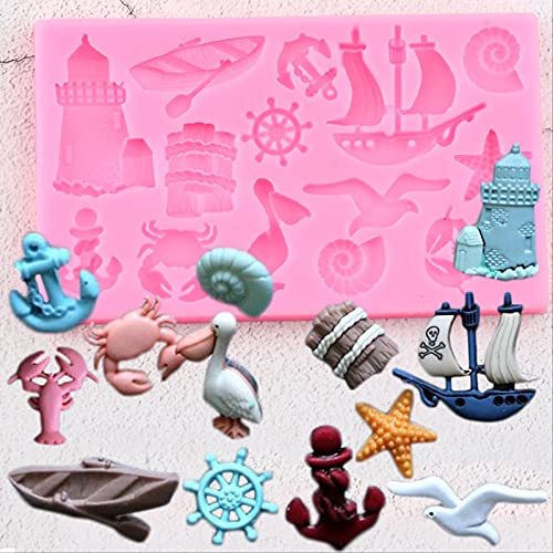 XRZH Sea Animals Silicone Molds Sailboat Anchor Fondant Baby Birthday Cake Decorating Tools Candy Clay Chocolate Moulds