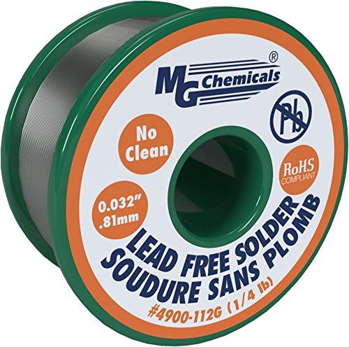 "MG Chemicals Sn99, 99,3% estaño, 0,7% cobre, 3% plata, no limpio sin plomo soldadura, 0,032""Diámetro, bobina de 1/4Lb"