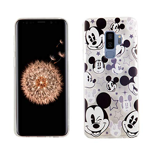 Galaxy S9+ Plus Case Mickey Mouse Faces,DURARMOR FlexArmor Rubber Flexible Bumper Shockproof Ultra Slim TPU Case Drop Protection Cover for Galaxy S9+ Plus- Mickey Mouses Face