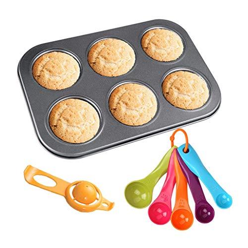 Moldes para Tartas y bizcochos Molde Molde de Pastel Antiadherente Muffin Molde Redondo de la Torta 6 Cavidad Cuchara dosificadora Clara de Huevo Kit de Cuchillas Moldes