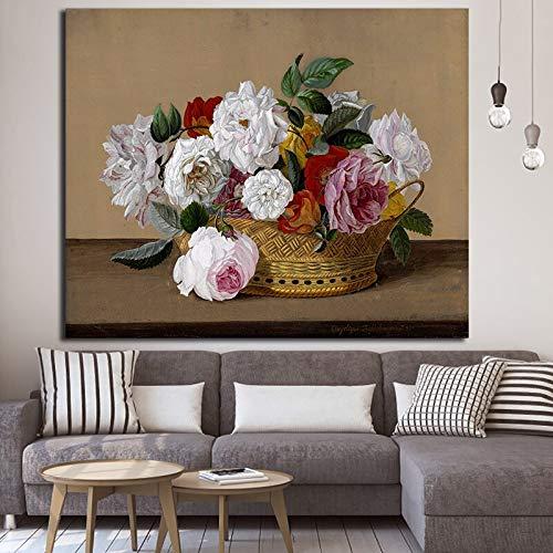 N / A Rahmenlose Malerei HD Korb von Rosen Malerei Moderne Wandkunst Poster und Bilder Wohnzimmer KunstdekorationZGQ9170 30x45cm